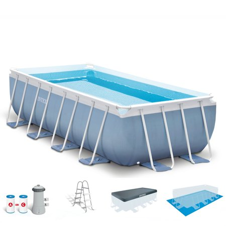 - Intex 16 Feet x 8 Feet x 42 Inches Prism Frame Rectangular Swimming Pool Set