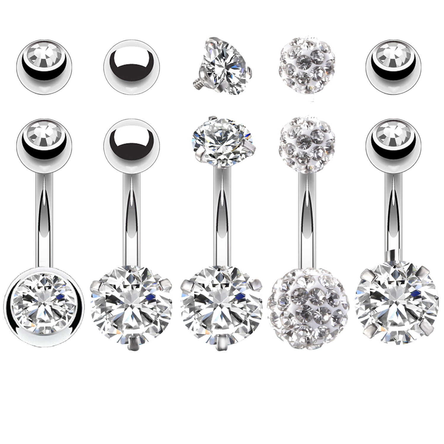 Bodyj4you 5pcs Belly Button Rings 14g Stainless Steel Cz Women Navel Body Piercing Jewelry Set