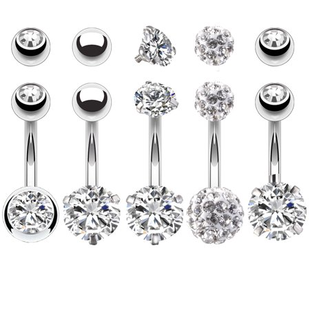 BodyJ4You 5PCS Belly Button Rings 14G Stainless Steel CZ Women Navel Body Piercing Jewelry Set ()
