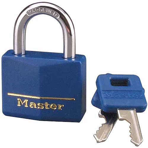"Master Lock 142DCM 1-9/16"" Blue Vinyl Cover Brass Padlock"