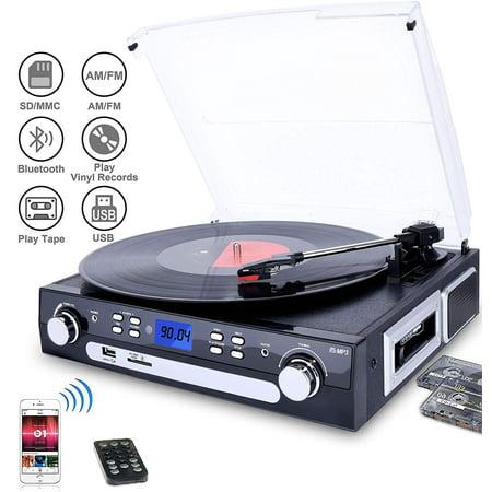 DIGITNOW Vinyl/LP Turntable Record Player, with Bluetooth,AM&FM Radio, Cassette Tape, Aux in, USB/SD Encoding & Playing MP3/ Built-in Stereo Speakers, 3.5mm Headphone Jack,Remote and LCD ()