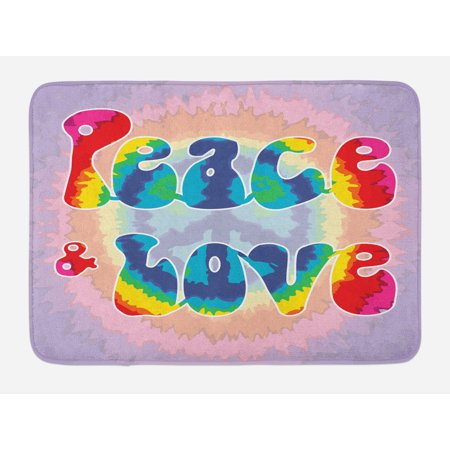 Groovy Bath Mat, Peace and Love Text in Tie Dye Pattern Energetic Youthful Fun 60s 70s Hippie Design, Non-Slip Plush Mat Bathroom Kitchen Laundry Room Decor, 29.5 X 17.5 Inches, Multicolor, Ambesonne (60s Tie)
