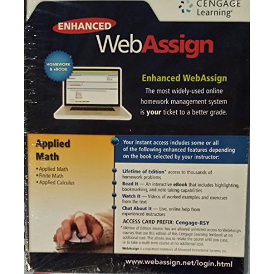 Enhanced Webassign: Applied Math, Finite Math and Applied Calculus,  9781285857589, Printed Access Code, 5th