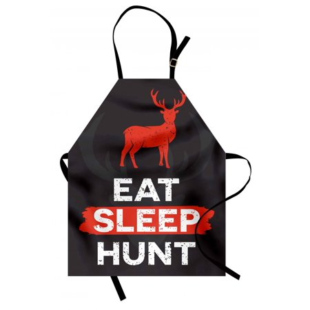 Hunting Apron Eat Sleep Hunt Inspirational Quote Grunge Retro Deer Silhouette Antlers, Unisex Kitchen Bib Apron with Adjustable Neck for Cooking Baking Gardening, Scarlet Eggplant White, by