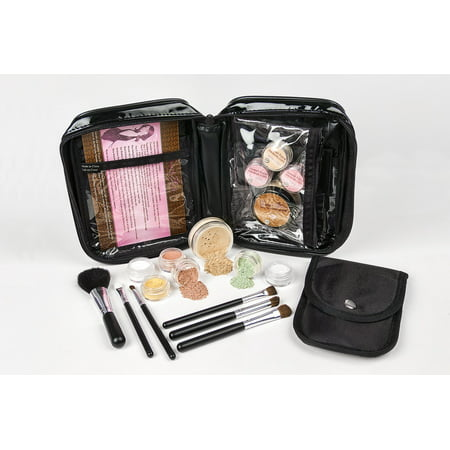 15 pc Mineral Makeup Starter Kit (DARK TAN) Foundation Set Bare Skin Powder Sheer Natural