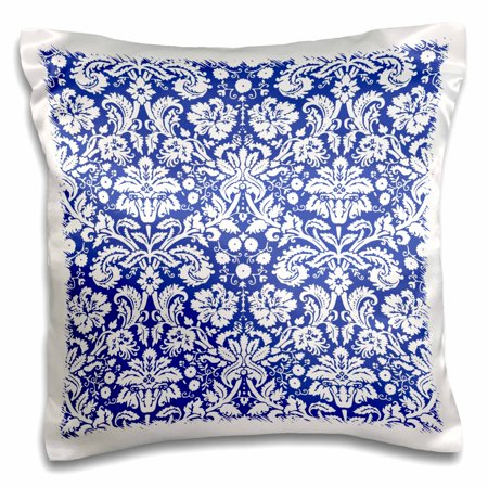 3dRose Royal blue and white damask pattern - stylish elegant Victorian vintage French floral swirls - navy - Pillow Case, 16 by 16-inch