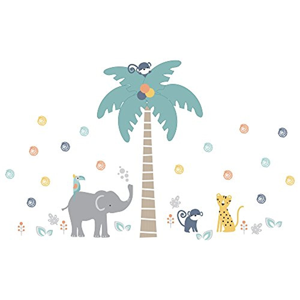 Lambs & Ivy Animal Crackers Jungle Jumbo Wall Appliques, Gray/Blue