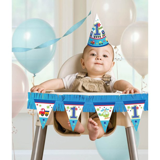 All Aboard Boy 10st Birthday High Chair Decorating Kit, Large, Blue/White