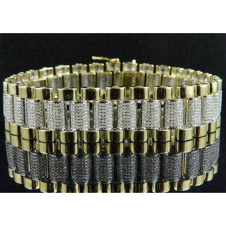 - Men's 10K Yellow Gold Genuine Diamonds Link Bracelet 7 ct
