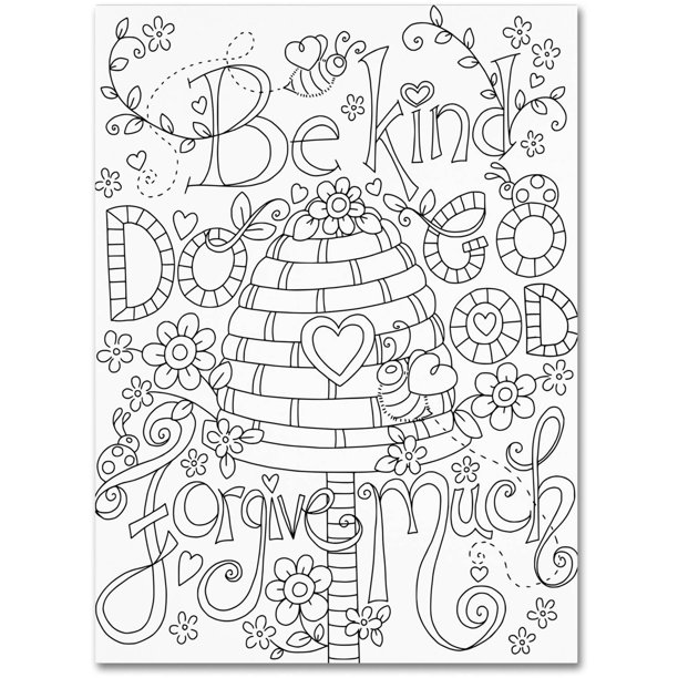 Trademark Fine Art Be Kind Coloring Page Canvas Art By Jennifer Nilsson Walmart Com Walmart Com
