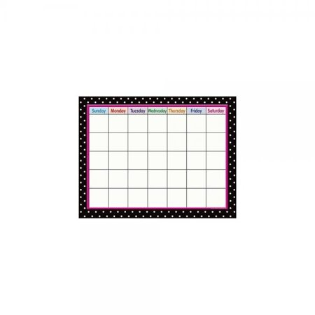 Teacher Created Resources Black Polka Dots Calendar Chart, Black -