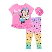 Minnie Mouse Baby Girls & Toddler Girls Short Sleeve Ruffled Cross-Front Top & Leggings, 2pc Outfit Set (12M-4T)