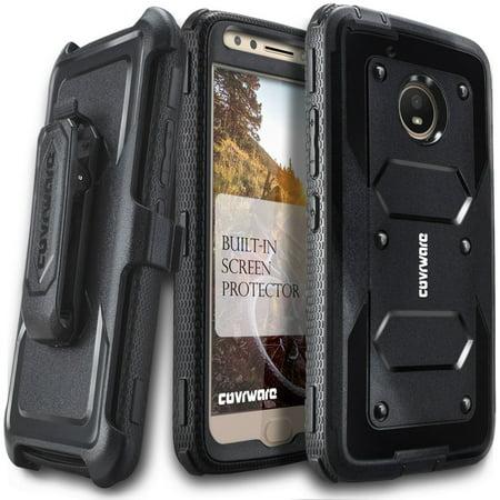 Moto E4 Plus Case, COVRWARE [Aegis Series] w/ Built-in [Screen Protector] Heavy Duty Full-Body Rugged Holster Armor Case [Belt Swivel Clip][Kickstand] For Moto E Plus (4th Generation), Black
