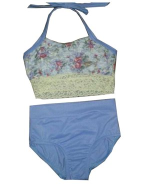 Elliewear Girls Cream Overlay Top Periwinkle Brief 2 Pc Dance Set 5-12