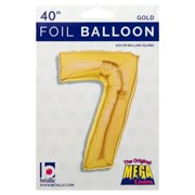 40-Inch Giant Gold Foil Balloons, Shiny Mylar, Number 7, Metallic Gold