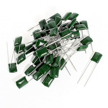 Mfd 100v Radial - Unique Bargains 50 x Radial Leads Polyester Film Capacitors Green 2A223J 100V 0.022uF 5%