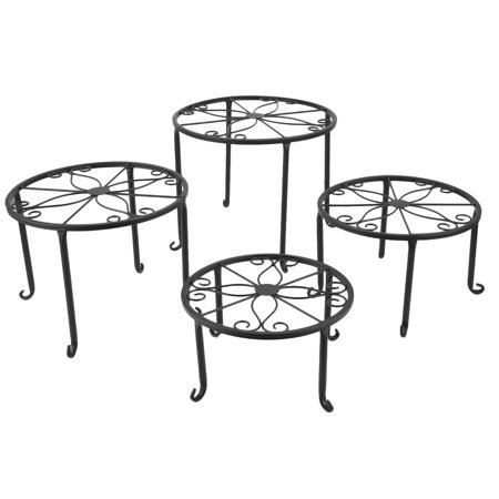 4pcs Wrought Iron Outdoor Indoor Pot Plant Organizer Stand Holder Planter Flower Rack Display Garden Decoration