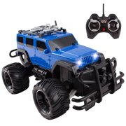 RC Truck Jeep Big Wheel Monster Remote Control Car With LED Headlights Ready To Run Includes Rechargeable Battery 1:16 Size Off-Road Radio Beast Buggy Great Toy Gift For Boys Children (Blue)