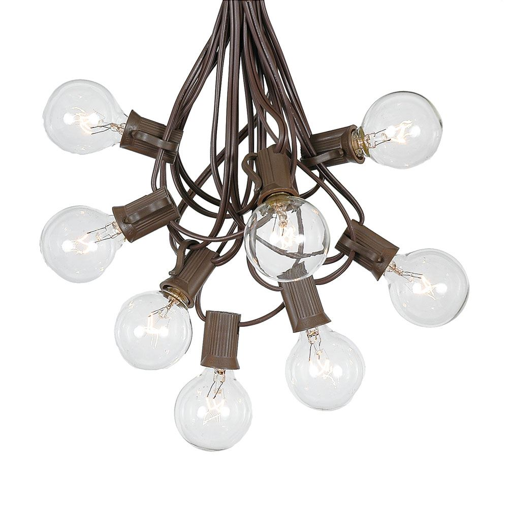 G40 Patio String Lights With 25 Clear Globe Bulbs Outdoor Market Bistro Caf Hanging Garden Umbrella Brown