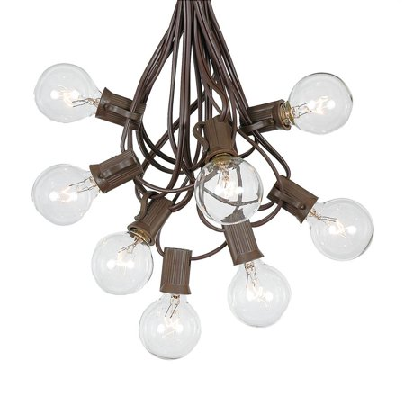 g40 patio string lights with 25 clear globe bulbs - hanging garden string lights - vintage backyard patio lights - outdoor string lights - market cafe string lights - brown wire - 25 foot ()