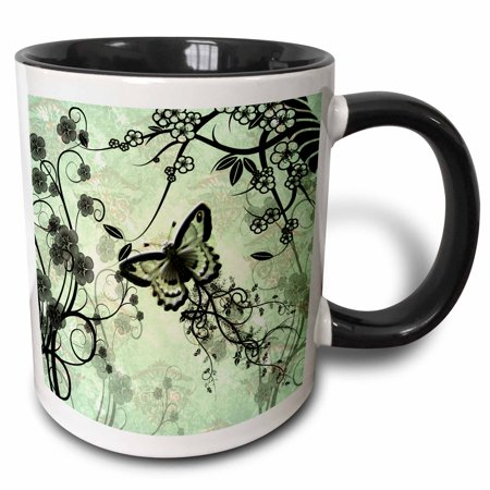 3dRose Wonderful butterflies and fantasy wood, green colors - Two Tone Black Mug, 11-ounce