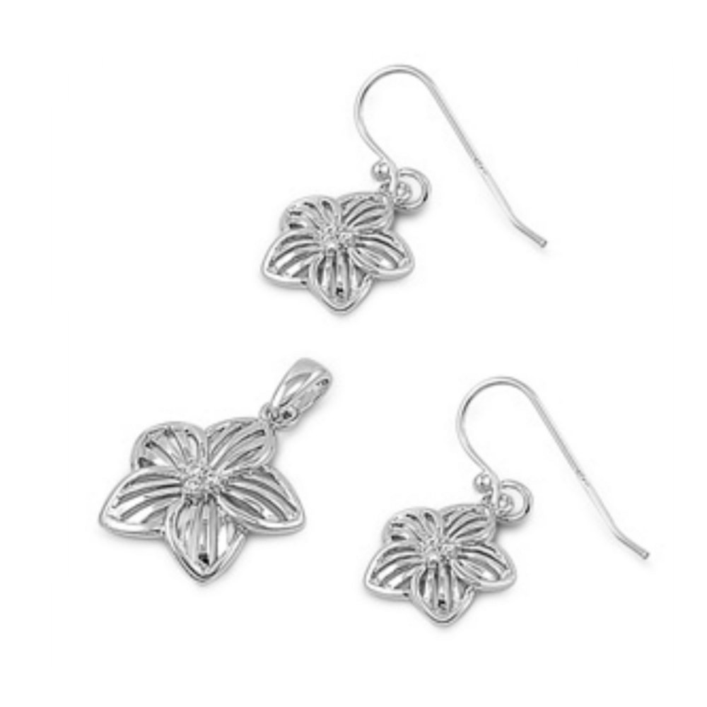 925 Sterling Silver Plumeria Sets With Cubic Zirconia by Royal Design