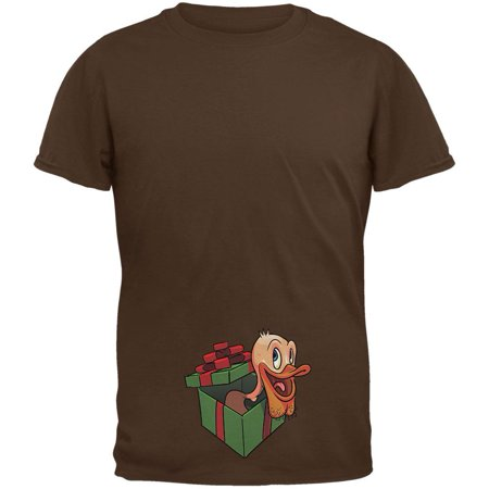 Duck In A Box Christmas Gift Brown Adult T-Shirt - X-Large ()