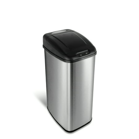 Nine Stars Motion Sensor Slim Touchless 13.2 Gal Trash Can, Stainless Steel