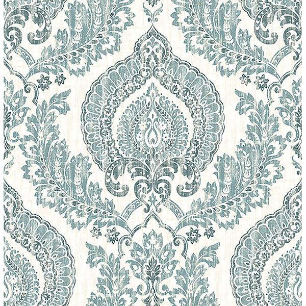 Kensington Damask Blue Peel & Stick Wallpaper