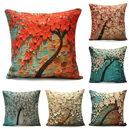 Meigar Non-3D Printed Flower Tree Cotton Linen Decorative Throw Pillow Case Cushion Cover Clearance18''x18''Pillowcase Pillow Protector Slip Cases Sham for Car Couch Sofa Car Home ()