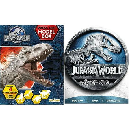 E.T. Stephen Spielberg Exclusive Steelbook & Jurassic World Limited Edition DVD + Blu Ray + Dinosaur Family Fantasy Movie Bundle Box - Movie Gift Sets