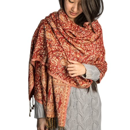 Red Orange Handloom Floral Wool Shawl Large Wrap Scarf Throw Woolen Blanket Hand Woven