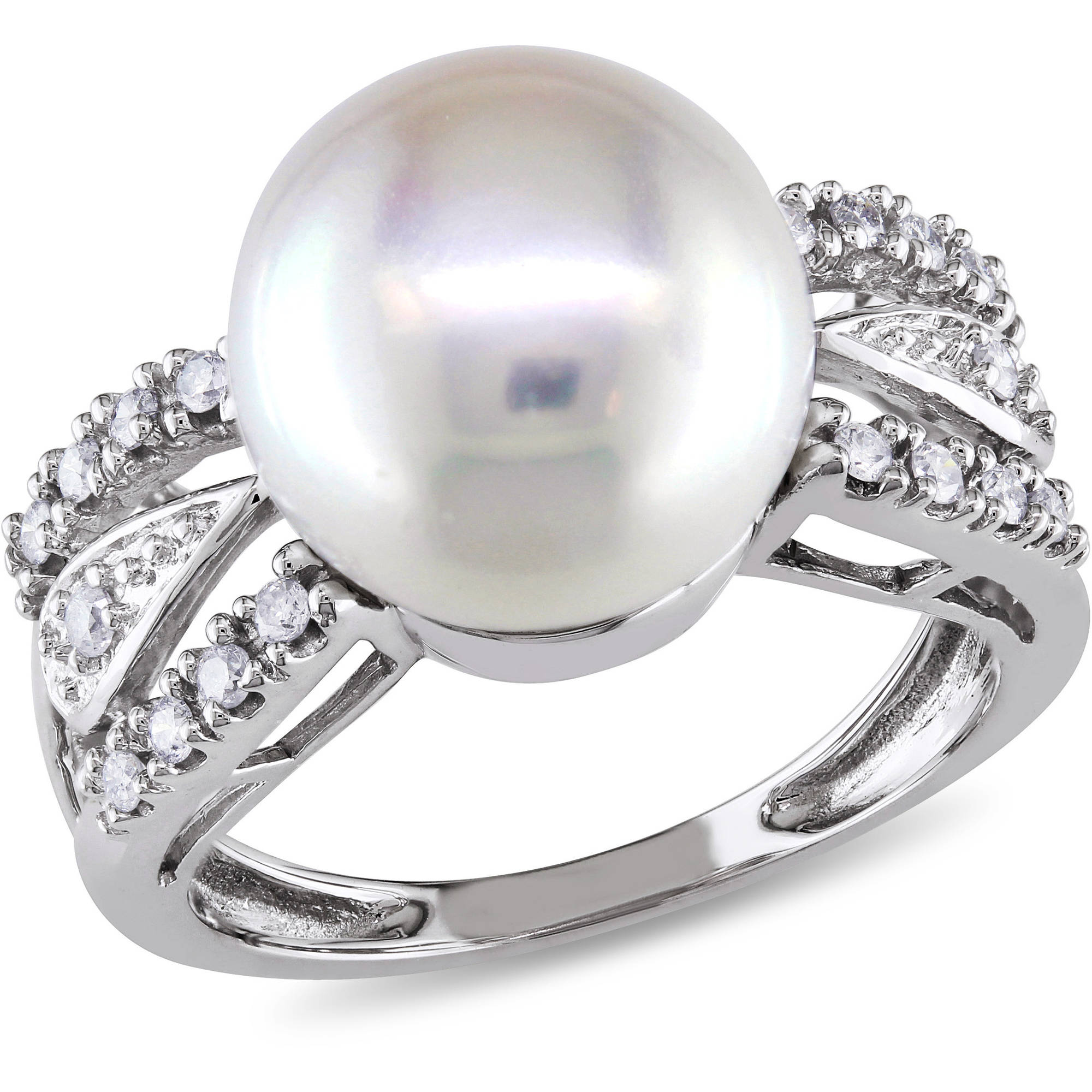 10-10.5mm White Cultured Freshwater Pearl and 1/8 Carat T.W. Diamond 14kt White Gold Cocktail Ring