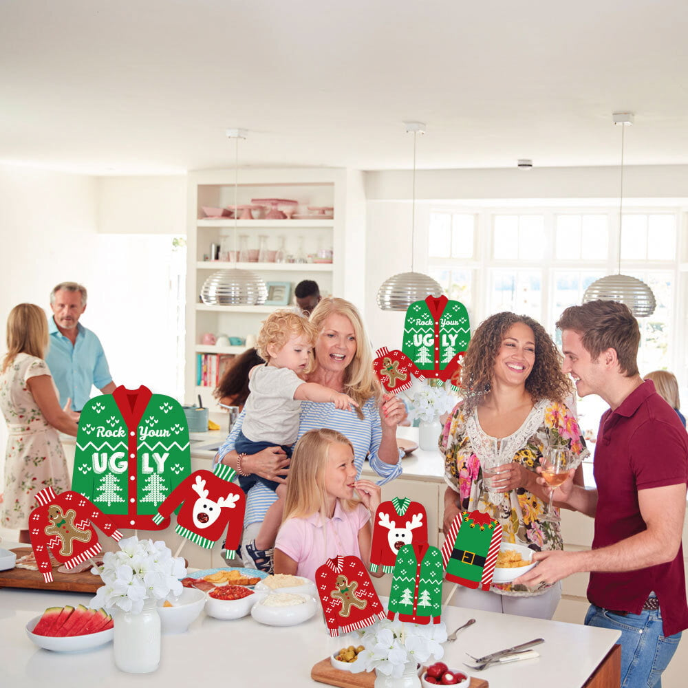 Holiday and Christmas Party Centerpiece Sticks 35 Pieces Showstopper Table Toppers Big Dot of Happiness Ugly Sweater