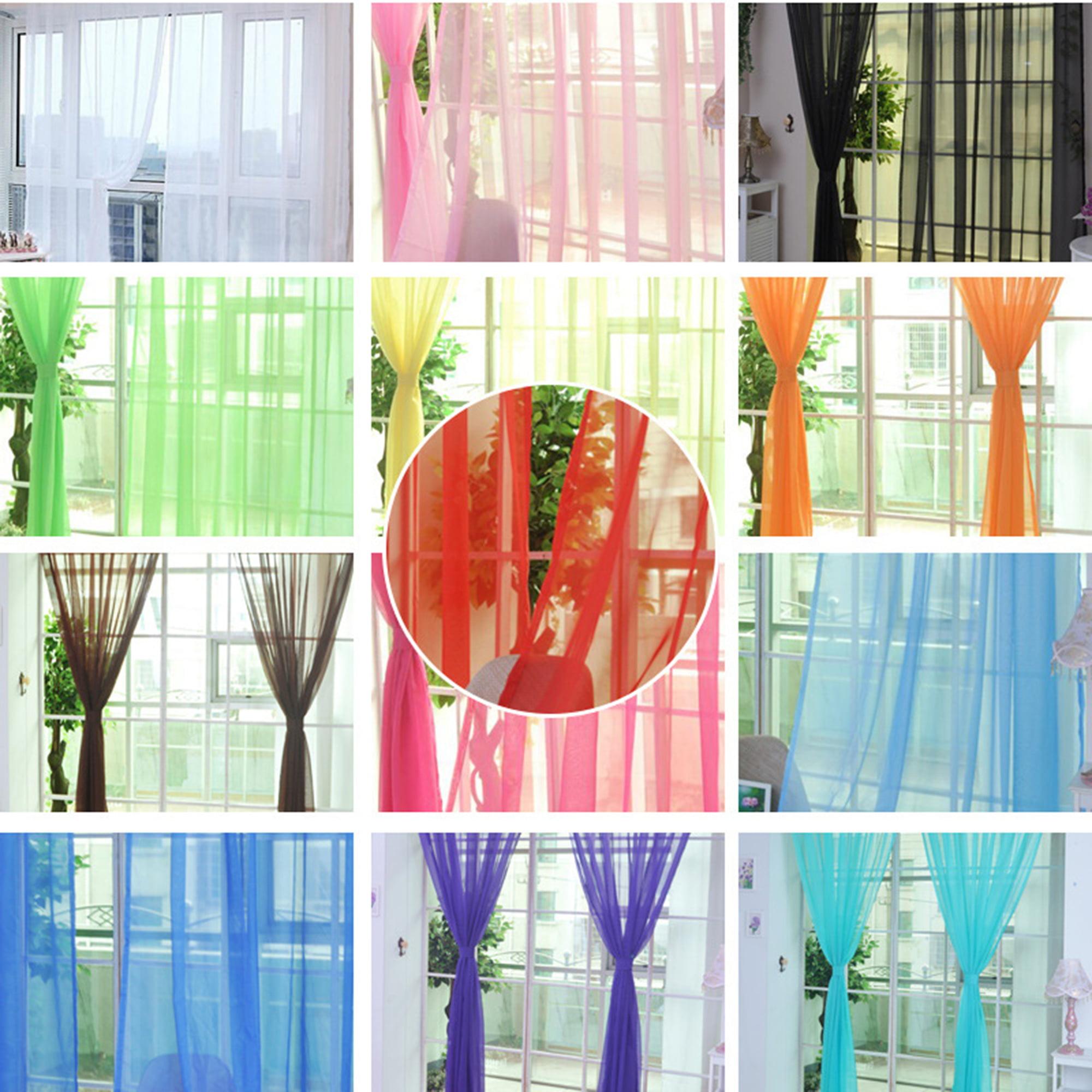 Sheer Voile Curtains Modern Solid Valances Scarf Drape Bedroom Divider Window Treatment Curtain Panels For Living Room Patio Villa Parlor Sliding