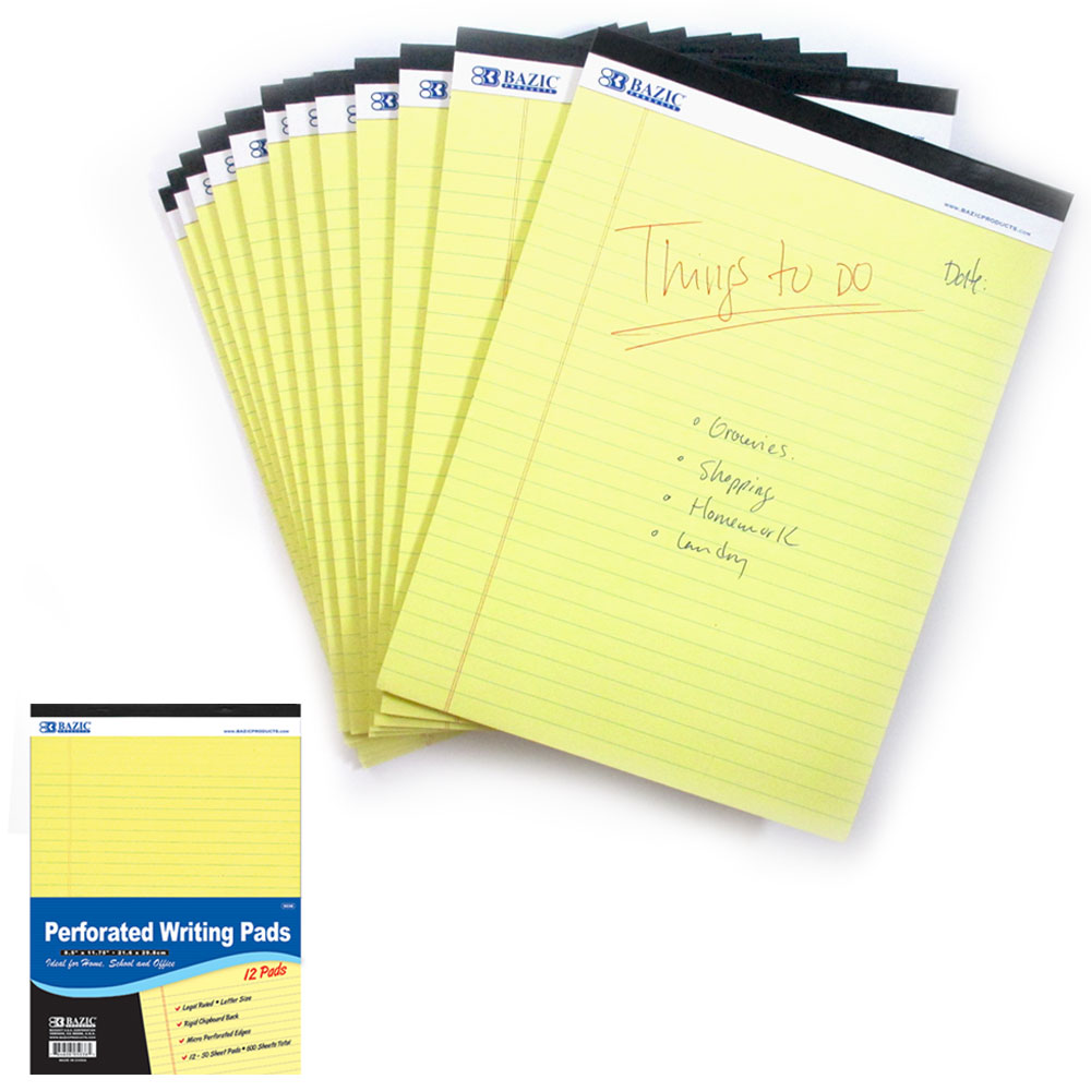 12 Micro Perforated Legal Pads Writing Note Pad 50 Sheets Letter Size 8.5 x 11.7