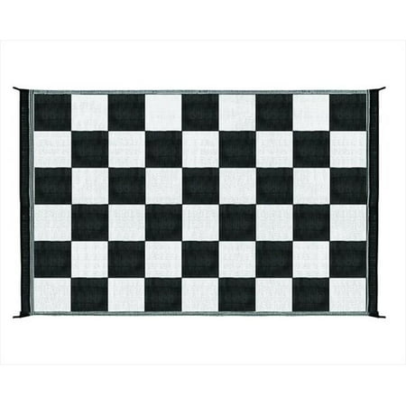 42884 6 x 9 Ft. Reversible Outdoor Mat-Black And White Checkered (Black And White Checkered Floor)