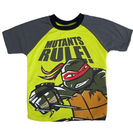 Nickelodeon Little Boys Yellow Teenage Mutant Ninja Turtle Print T-Shirt 4-7