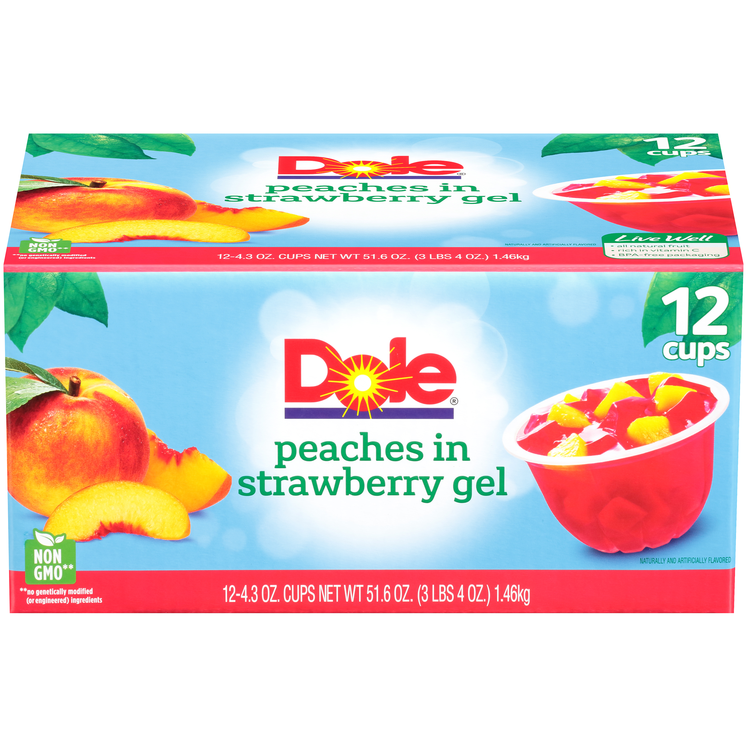 Dole Fruit Bowls, Peaches in Strawberry Gel, 4.3 Ounce (12 Cups)