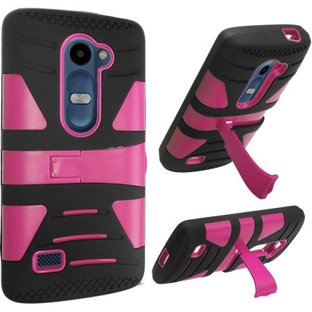 For Lg Tribute 2 Risio Leon C40 Power L22c Destiny L21g Sunset L33l Hybrid U Kickstand Case   Hot Pink Pc  Black Silicone
