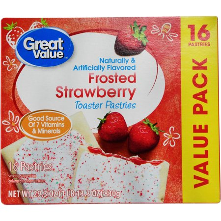 Great Value Frosted Strawberry Toaster Pastries, 16 count, 29.3 oz
