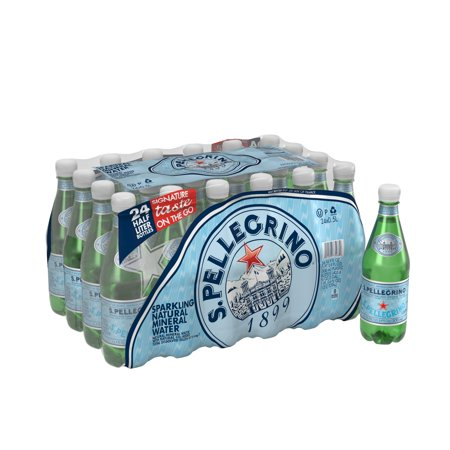 S.Pellegrino Sparkling Natural Mineral Water, 16.9 fl oz. Plastic Bottles (24 Count)