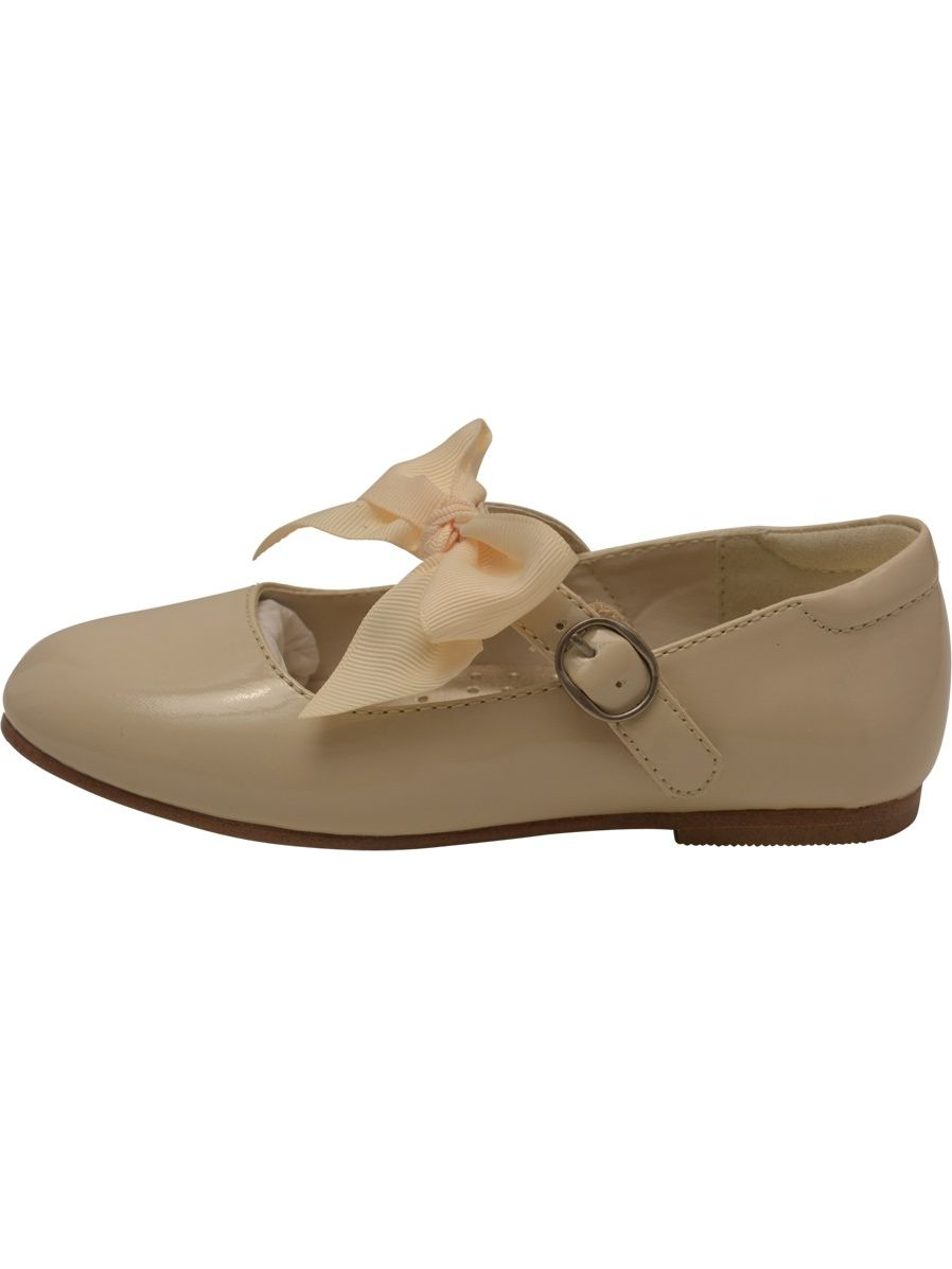 L'Amour Little Girls Cream Grosgrain Bow Strap Patent Flats 5-10 Toddler