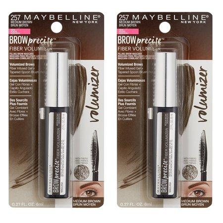 Maybelline Brow Precise Fiber Volumizer Eyebrow Mascara, #257 Medium Brown (Pack of 2) + Yes to Coconuts Moisturizing Single Use - Mascara Mask