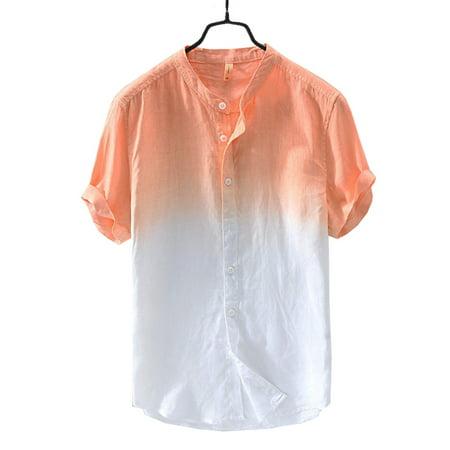 Mens Short Sleeve Gradient Button Front Shirt Casual T-Shirt ()