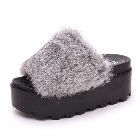 Meigar Women Platform Fur Slippers Flat Sandals Fluffy Furry Mules Slides Slip On Shoes