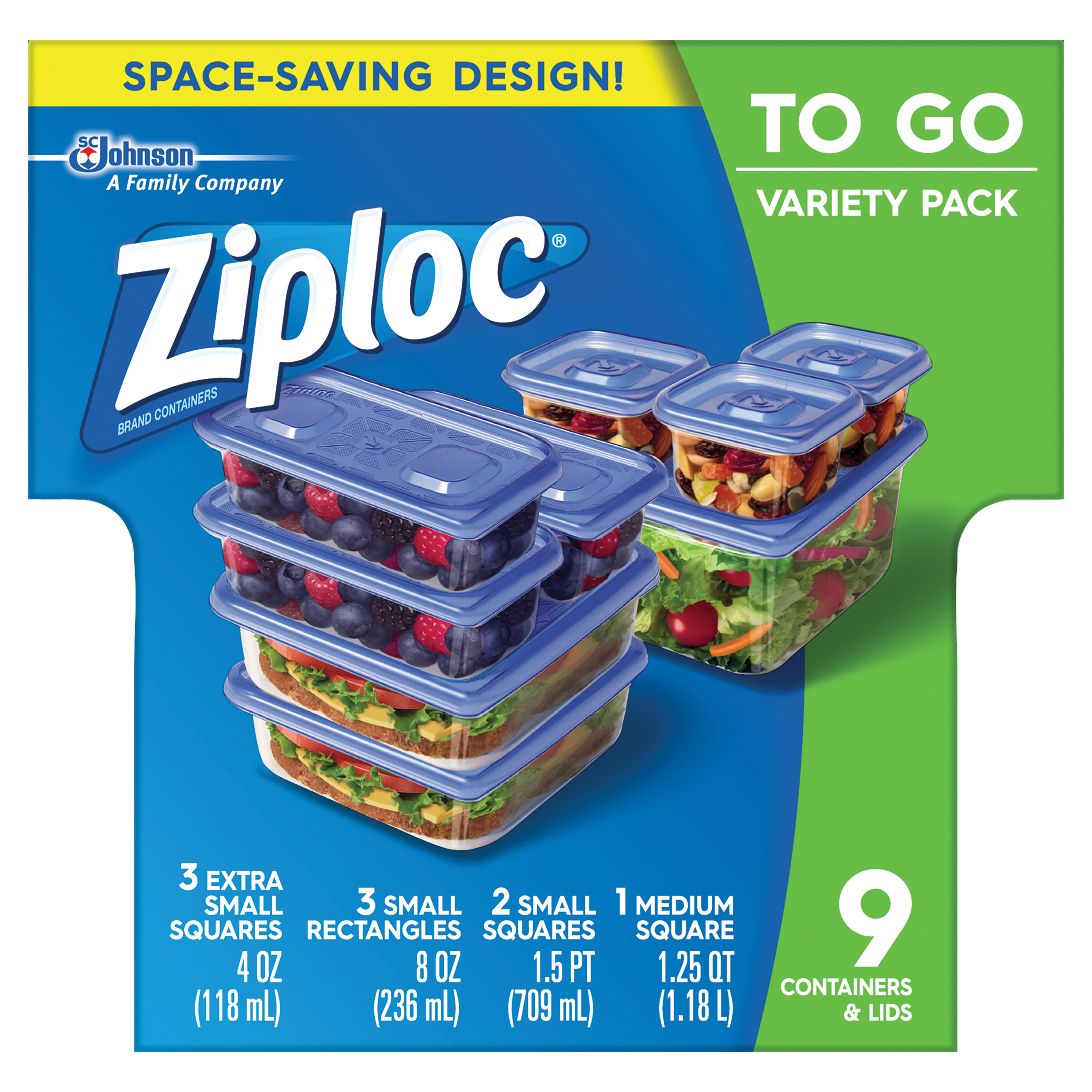 Ziploc Containers To Go Variety Pack, Walmart Exclusive, 9 count