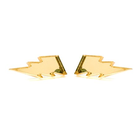 Unpossible Cuts Gold Mirror Lightning Bolt Acrylic Earrings Jewelry