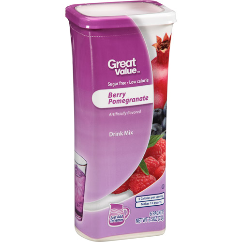 Great Value Berry Pomegranate Drink Mix, 6 count, 2.5 oz