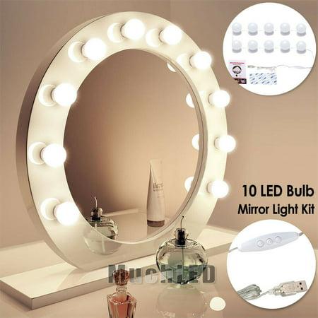 10LED Make up Mirror Lights Hollywood Kit Bulbs Wall Vanity Light Dimmable Light
